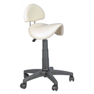 Joiken Saddle with Back, Black Base - White Upholstery