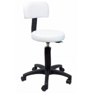Sprint Stool with Black Base & Back - White Upholstery